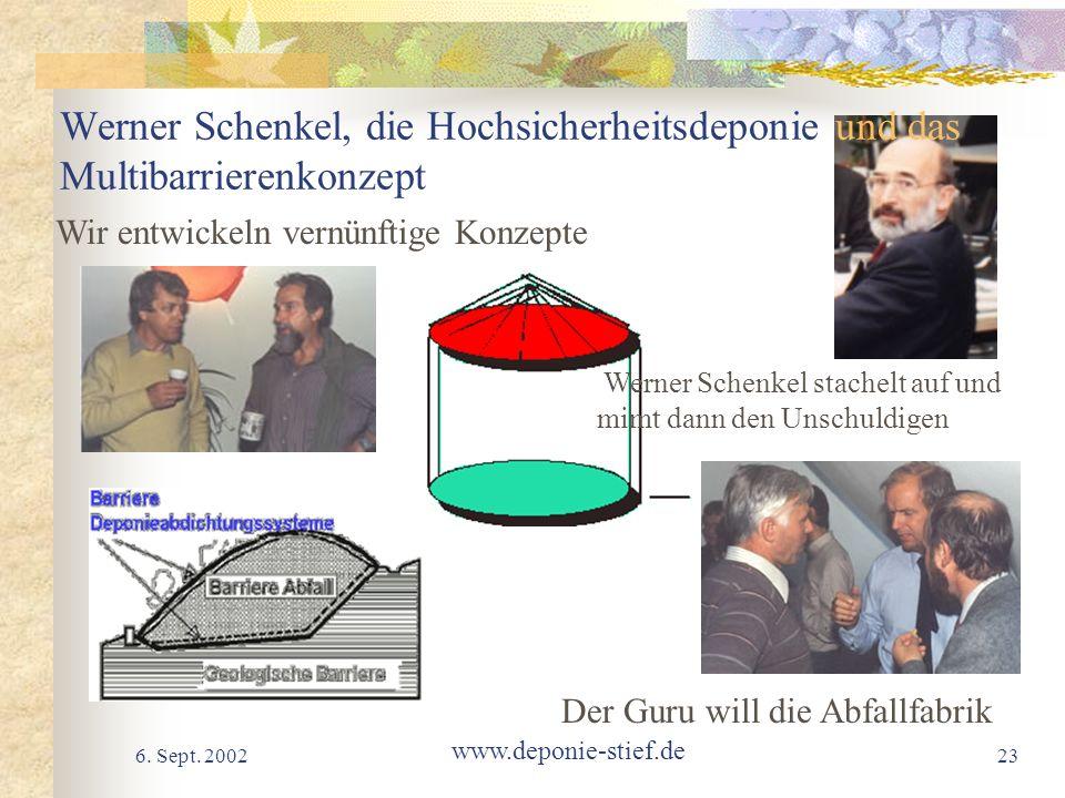 6. Sept. 2002 www.deponie-stief.de 23 Werner Schenkel, die Hochsicherheitsdeponie und das Multibarrierenkonzept Der Guru will die Abfallfabrik Werner