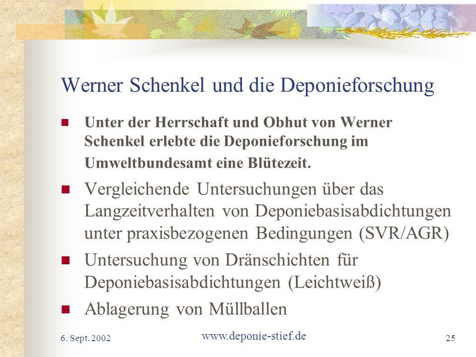 6. Sept. 2002 www.deponie-stief.de 25 Werner Schenkel und die Deponieforschung Unter der Herrschaft und Obhut von Werner Schenkel erlebte die Deponief