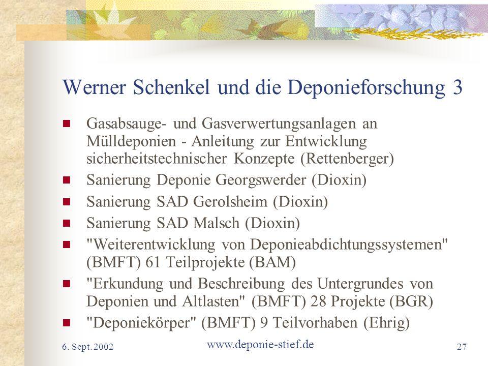 6. Sept. 2002 www.deponie-stief.de 27 Werner Schenkel und die Deponieforschung 3 Gasabsauge- und Gasverwertungsanlagen an Mülldeponien - Anleitung zur