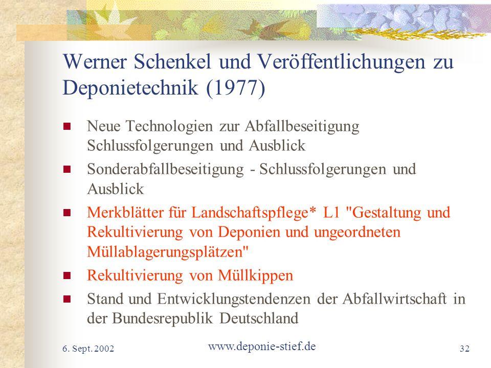 6. Sept. 2002 www.deponie-stief.de 32 Werner Schenkel und Veröffentlichungen zu Deponietechnik (1977) Neue Technologien zur Abfallbeseitigung Schlussf