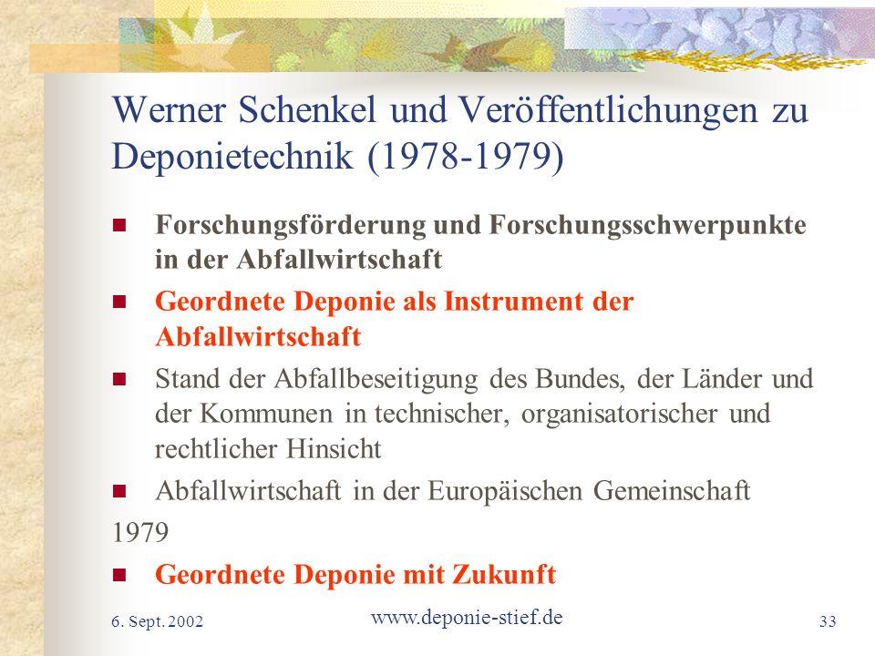 6. Sept. 2002 www.deponie-stief.de 33 Werner Schenkel und Veröffentlichungen zu Deponietechnik (1978-1979) Forschungsförderung und Forschungsschwerpun
