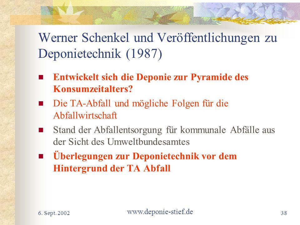 6. Sept. 2002 www.deponie-stief.de 38 Werner Schenkel und Veröffentlichungen zu Deponietechnik (1987) Entwickelt sich die Deponie zur Pyramide des Kon