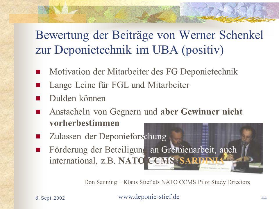 6. Sept. 2002 www.deponie-stief.de 44 Bewertung der Beiträge von Werner Schenkel zur Deponietechnik im UBA (positiv) Motivation der Mitarbeiter des FG