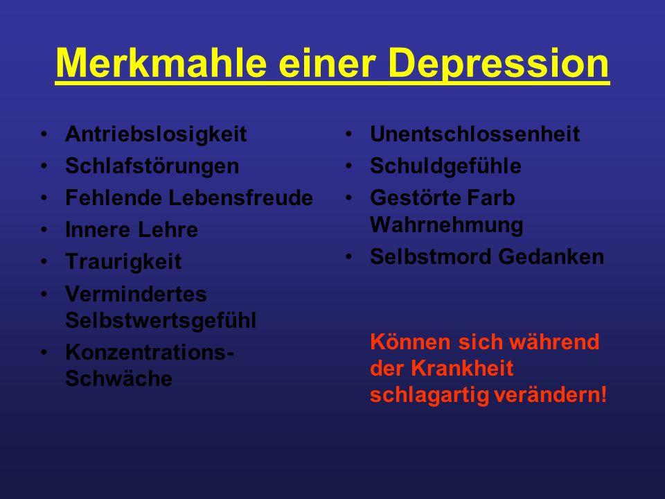 Merkmahle einer Depression Antriebslosigkeit Schlafstörungen Fehlende Lebensfreude Innere Lehre Traurigkeit Vermindertes Selbstwertsgefühl Konzentrati