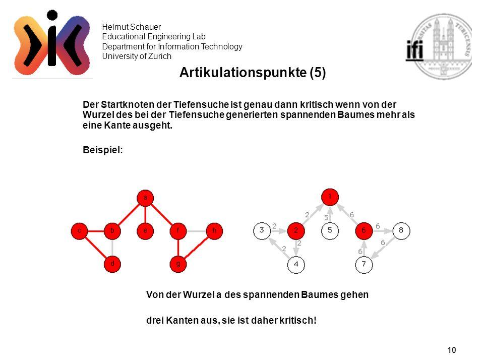 10 Helmut Schauer Educational Engineering Lab Department for Information Technology University of Zurich Artikulationspunkte (5) Der Startknoten der T