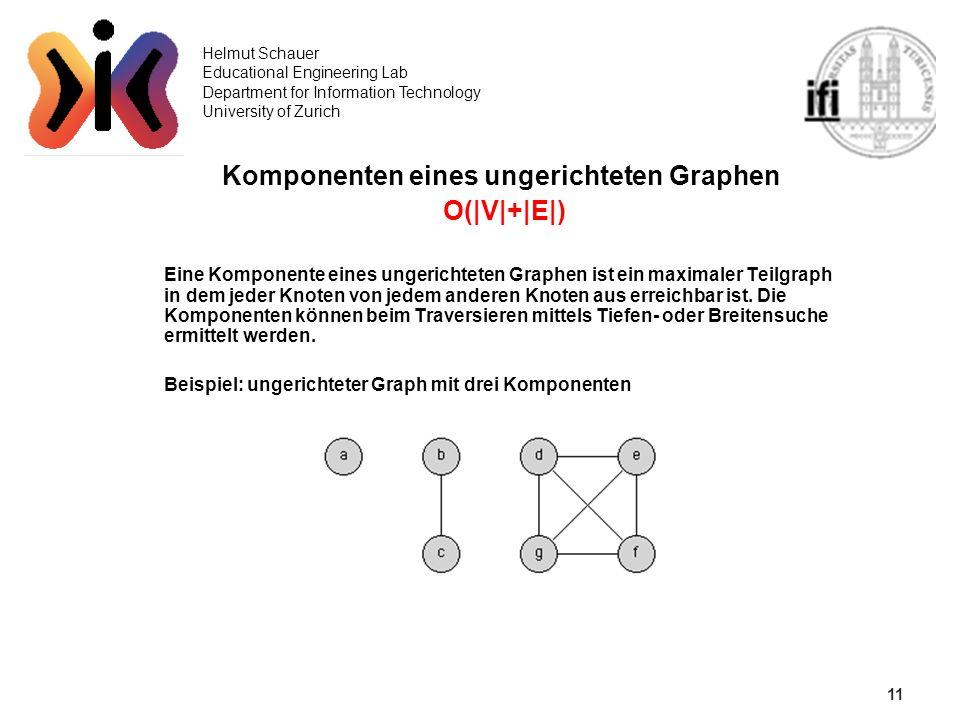 11 Helmut Schauer Educational Engineering Lab Department for Information Technology University of Zurich Komponenten eines ungerichteten Graphen O(|V|