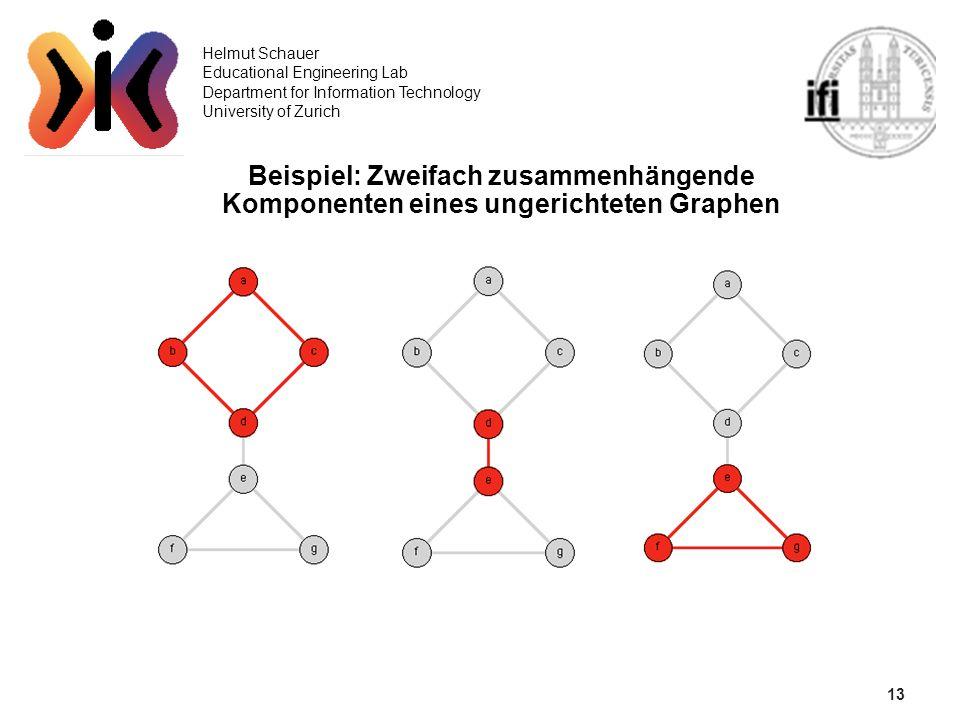 13 Helmut Schauer Educational Engineering Lab Department for Information Technology University of Zurich Beispiel: Zweifach zusammenhängende Komponent