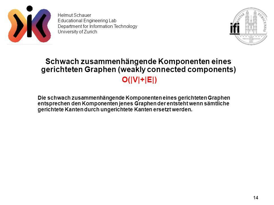 14 Helmut Schauer Educational Engineering Lab Department for Information Technology University of Zurich Schwach zusammenhängende Komponenten eines ge