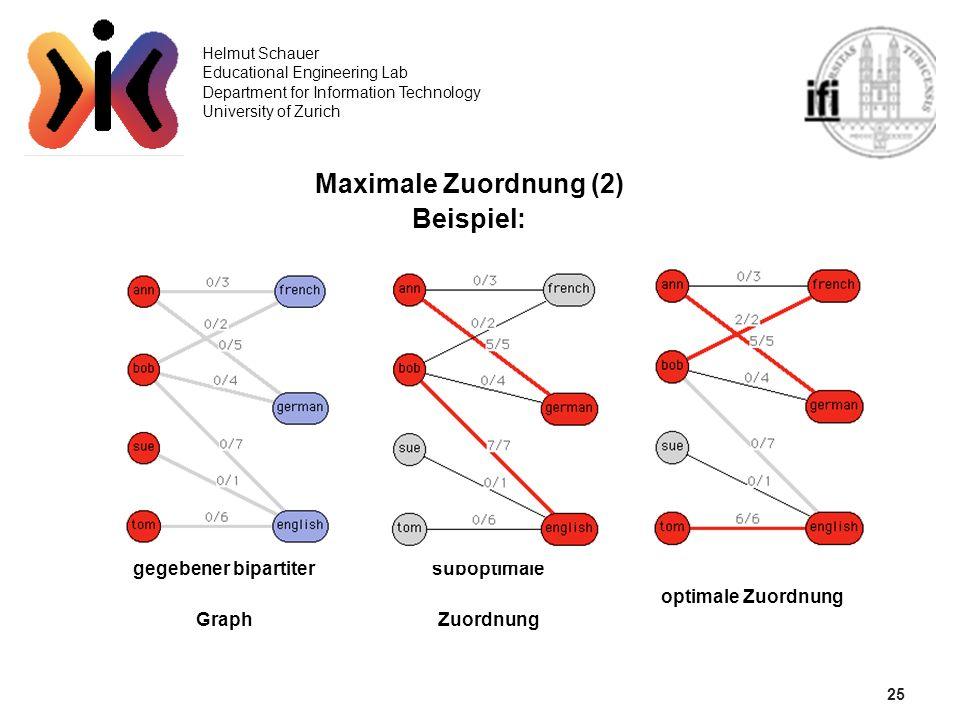 25 Helmut Schauer Educational Engineering Lab Department for Information Technology University of Zurich Maximale Zuordnung (2) Beispiel: gegebener bi