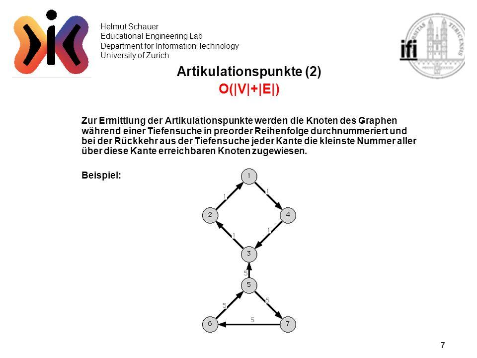 7 Helmut Schauer Educational Engineering Lab Department for Information Technology University of Zurich Artikulationspunkte (2) O(|V|+|E|) Zur Ermittl