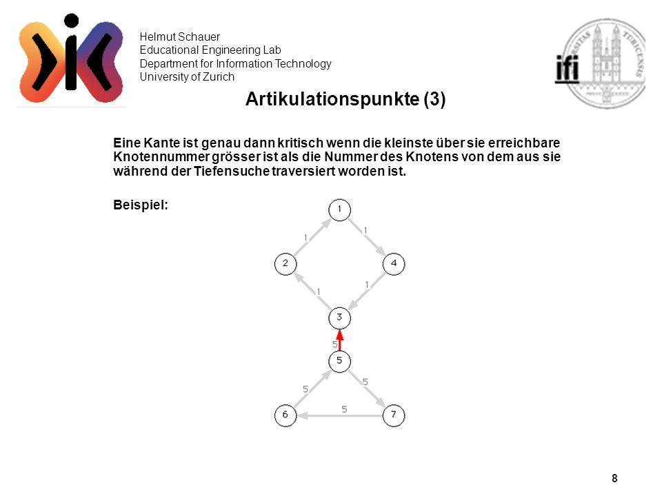 8 Helmut Schauer Educational Engineering Lab Department for Information Technology University of Zurich Artikulationspunkte (3) Eine Kante ist genau d