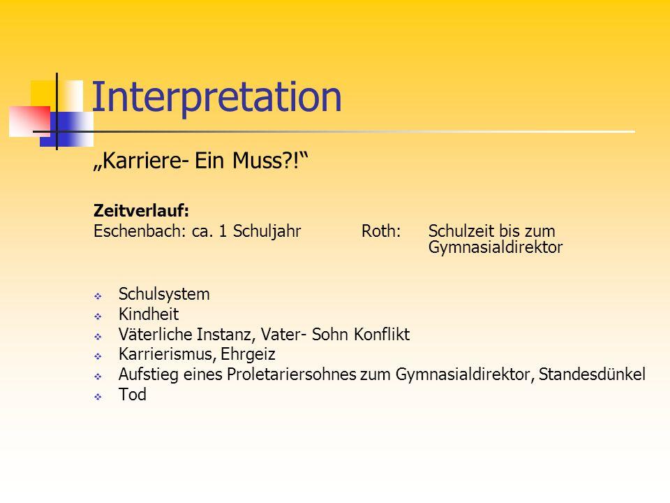Interpretation Karriere- Ein Muss?! Zeitverlauf: Eschenbach: ca. 1 SchuljahrRoth: Schulzeit bis zum Gymnasialdirektor Schulsystem Kindheit Väterliche