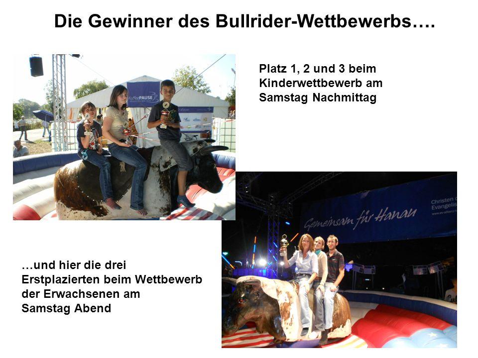 Die Gewinner des Bullrider-Wettbewerbs….