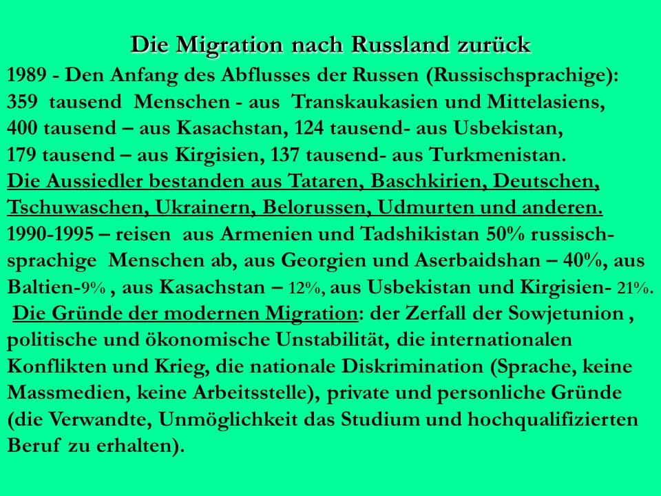 Die Migration nach Russland zurück 1989 - Den Anfang des Abflusses der Russen (Russischsprachige): 359 tausend Menschen - aus Transkaukasien und Mittelasiens, 400 tausend – aus Kasachstan, 124 tausend- aus Usbekistan, 179 tausend – aus Kirgisien, 137 tausend- aus Turkmenistan.