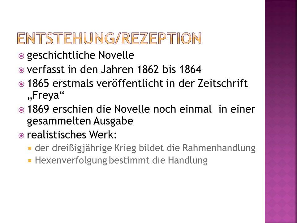 geschichtliche Novelle verfasst in den Jahren 1862 bis 1864 1865 erstmals veröffentlicht in der Zeitschrift Freya 1869 erschien die Novelle noch einma