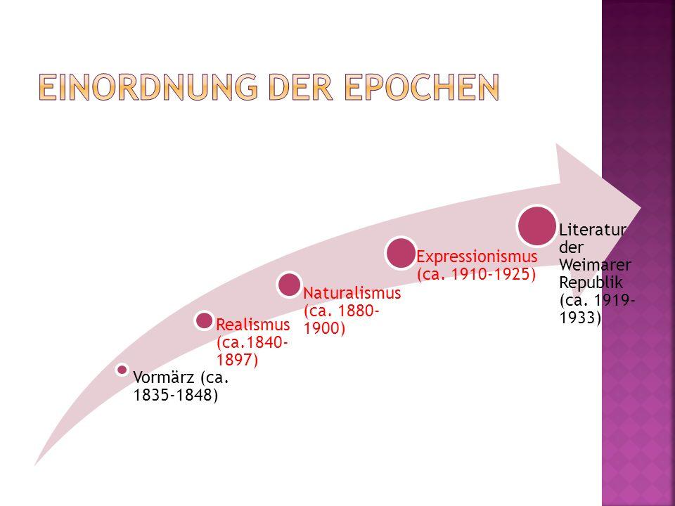 Vormärz (ca. 1835-1848) Realismus (ca.1840- 1897) Naturalismus (ca. 1880- 1900) Expressionismus (ca. 1910-1925) Literatur der Weimarer Republik (ca. 1