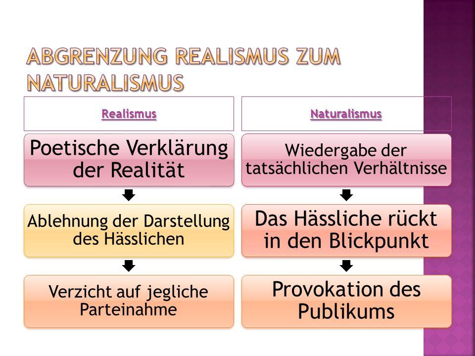 Realismus Naturalismus Poetische Verklärung der Realität Ablehnung der Darstellung des Hässlichen Verzicht auf jegliche Parteinahme Wiedergabe der tat