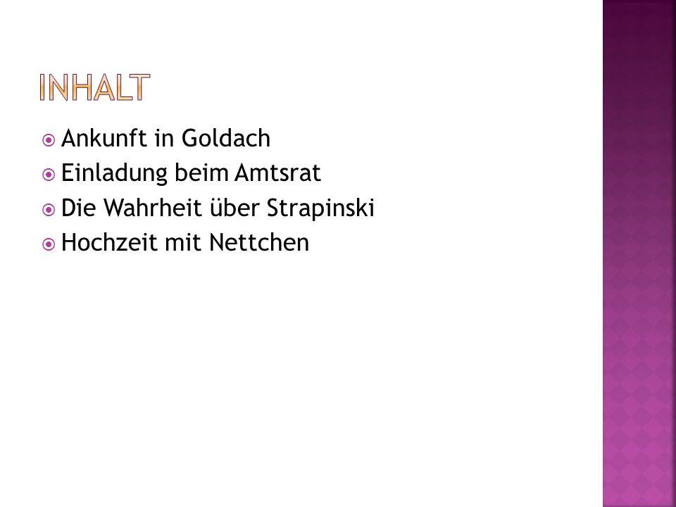 Ankunft in Goldach Einladung beim Amtsrat Die Wahrheit über Strapinski Hochzeit mit Nettchen