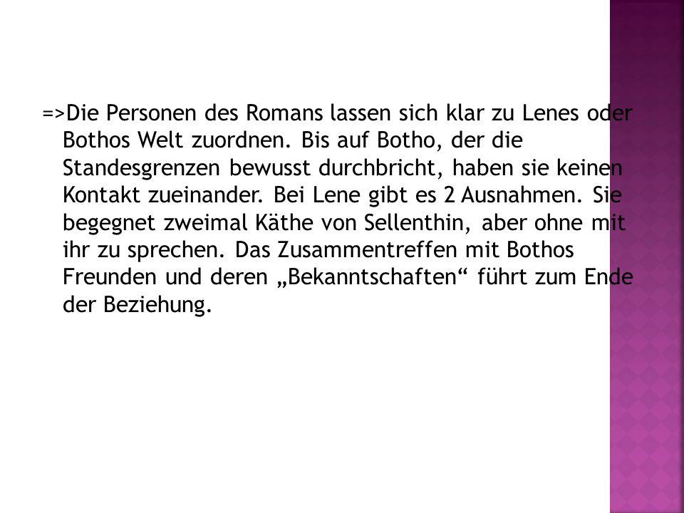 =>Die Personen des Romans lassen sich klar zu Lenes oder Bothos Welt zuordnen. Bis auf Botho, der die Standesgrenzen bewusst durchbricht, haben sie ke
