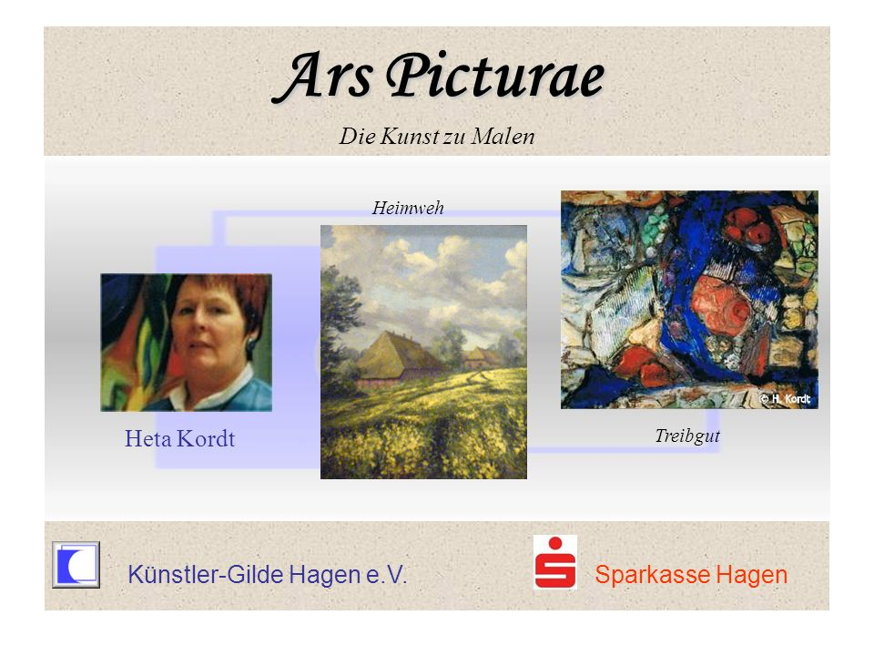 Künstler-Gilde Hagen e.V. Sparkasse Hagen Heimweh Heta Kordt Treibgut Ars Picturae Ars Picturae Die Kunst zu Malen