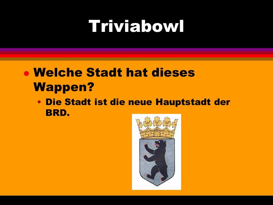 Triviabowl l Welche Stadt hat dieses Wappen Die Stadt ist die neue Hauptstadt der BRD.