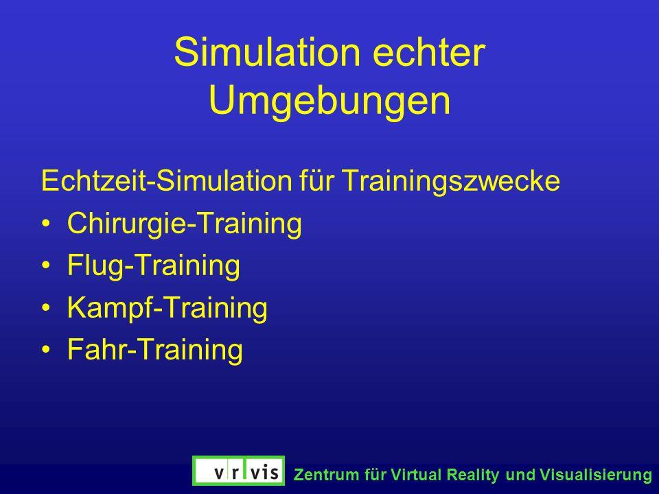 Zentrum für Virtual Reality und Visualisierung Simulation echter Umgebungen Echtzeit-Simulation für Trainingszwecke Chirurgie-Training Flug-Training K