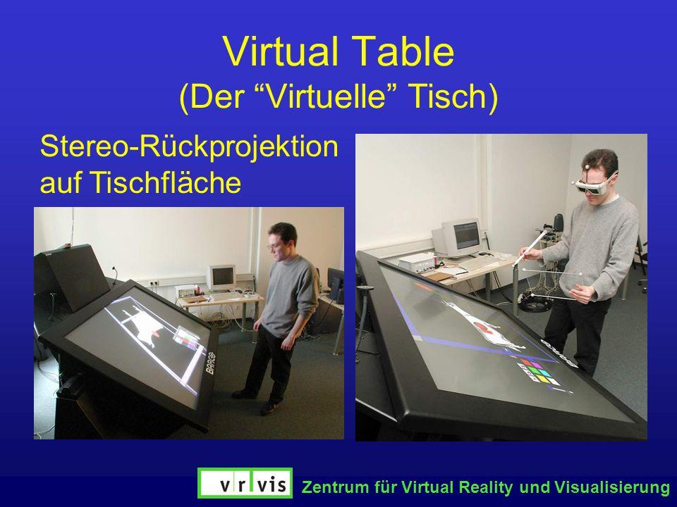 Zentrum für Virtual Reality und Visualisierung Virtual Table (Der Virtuelle Tisch) Stereo-Rückprojektion auf Tischfläche