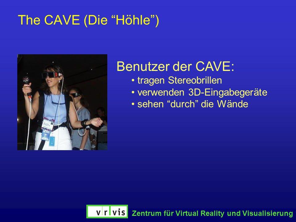 Zentrum für Virtual Reality und Visualisierung The CAVE (Die Höhle) Benutzer der CAVE: tragen Stereobrillen verwenden 3D-Eingabegeräte sehen durch die