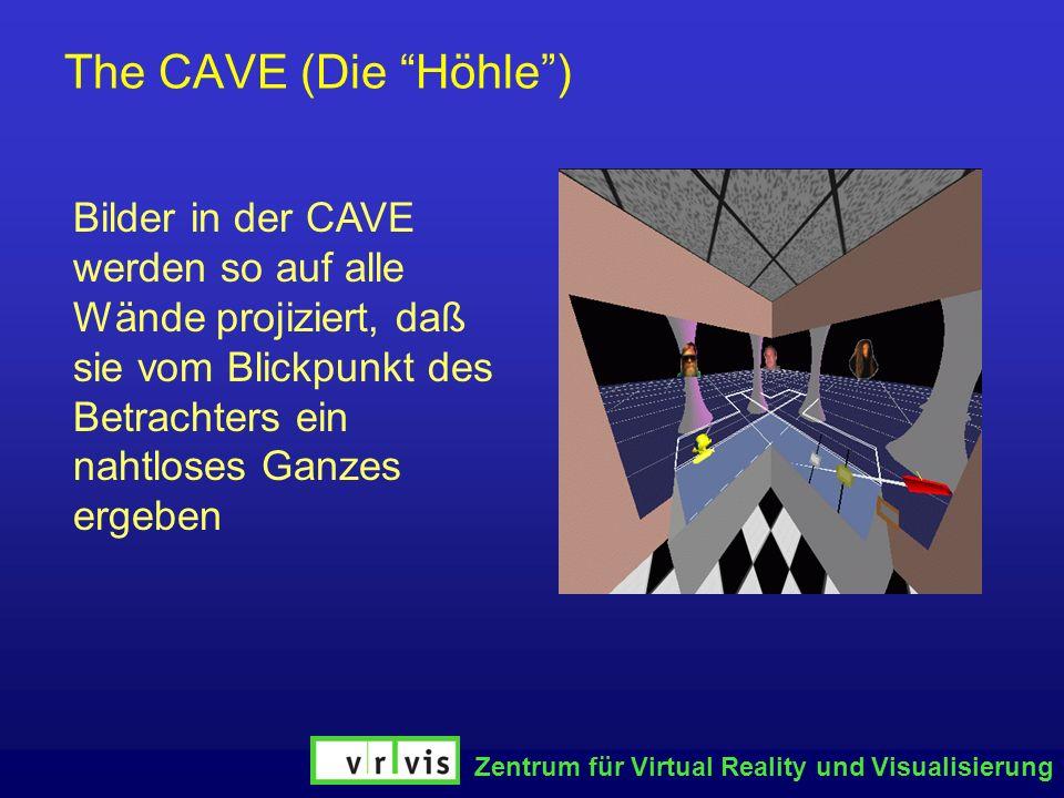 Zentrum für Virtual Reality und Visualisierung The CAVE (Die Höhle) Bilder in der CAVE werden so auf alle Wände projiziert, daß sie vom Blickpunkt des