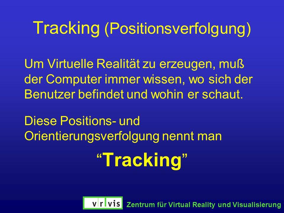 Zentrum für Virtual Reality und Visualisierung Tracking (Positionsverfolgung) Um Virtuelle Realität zu erzeugen, muß der Computer immer wissen, wo sic