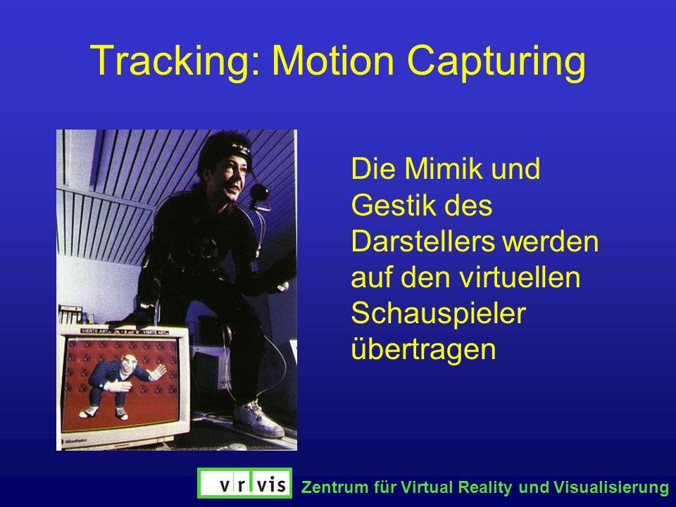 Zentrum für Virtual Reality und Visualisierung Tracking: Motion Capturing Die Mimik und Gestik des Darstellers werden auf den virtuellen Schauspieler