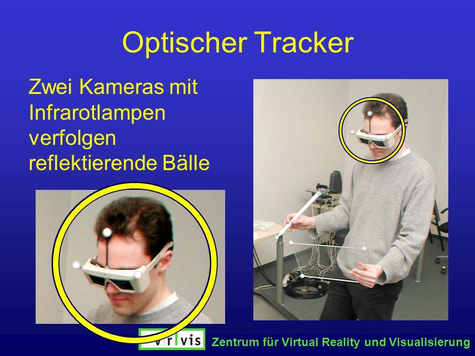 Zentrum für Virtual Reality und Visualisierung Optischer Tracker Zwei Kameras mit Infrarotlampen verfolgen reflektierende Bälle