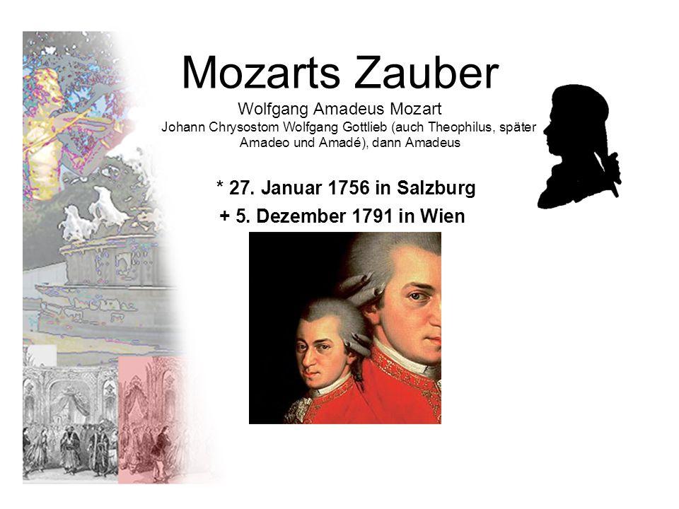 Mozarts Zauber Wolfgang Amadeus Mozart Johann Chrysostom Wolfgang Gottlieb (auch Theophilus, später Amadeo und Amadé), dann Amadeus * 27. Januar 1756