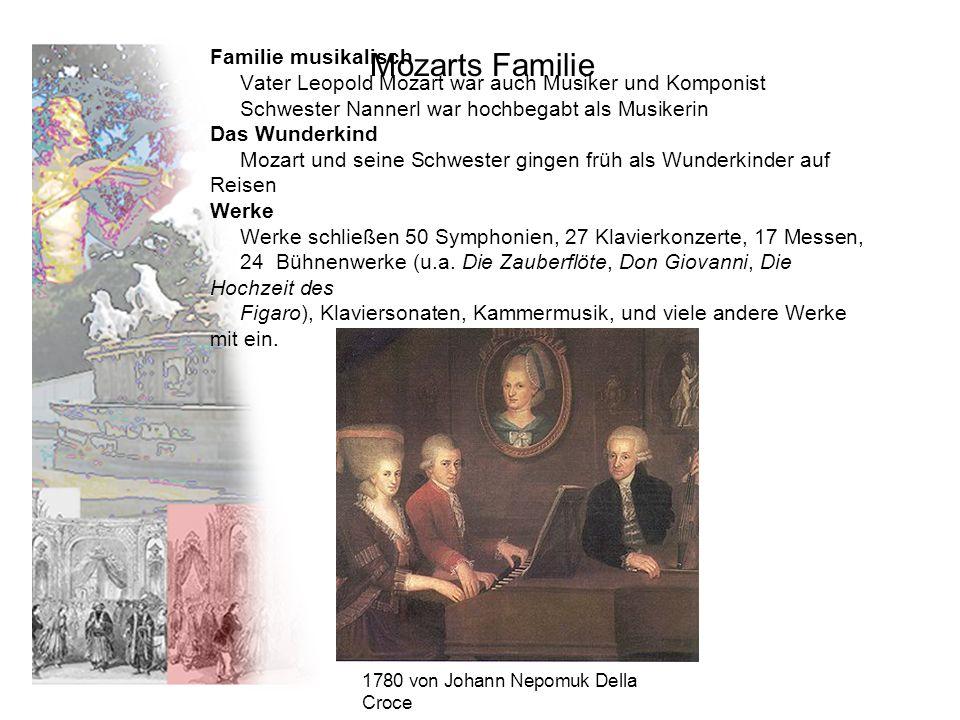 Familie musikalisch Vater Leopold Mozart war auch Musiker und Komponist Schwester Nannerl war hochbegabt als Musikerin Das Wunderkind Mozart und seine Schwester gingen früh als Wunderkinder auf Reisen Werke Werke schließen 50 Symphonien, 27 Klavierkonzerte, 17 Messen, 24 Bühnenwerke (u.a.