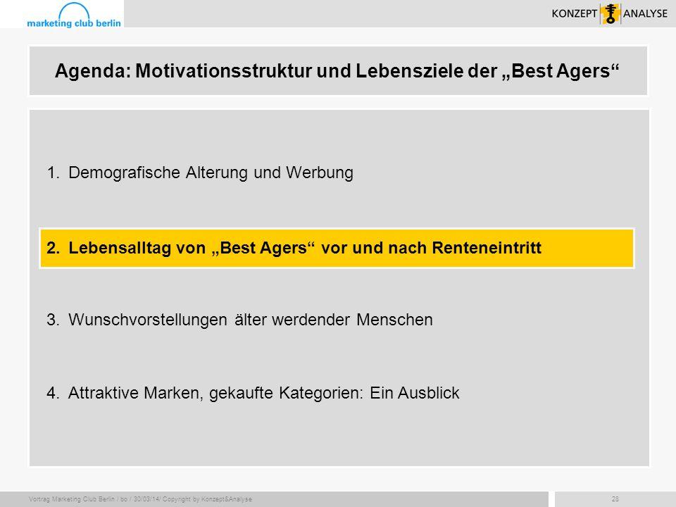 Vortrag Marketing Club Berlin / bo / 30/03/14/ Copyright by Konzept&Analyse28 Agenda: Motivationsstruktur und Lebensziele der Best Agers 2.Lebensallta