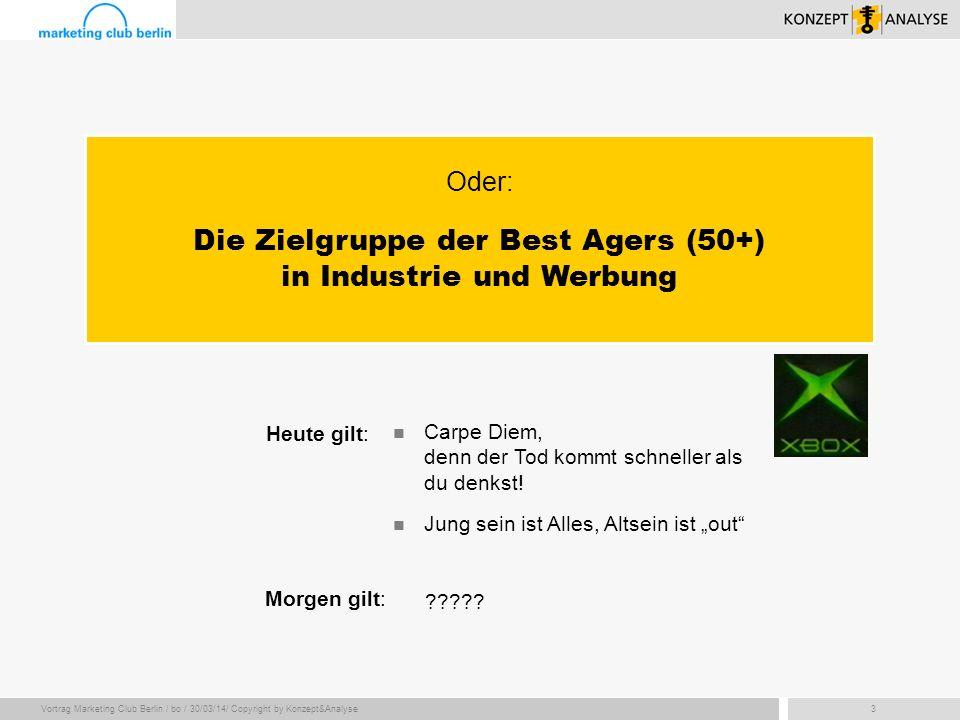 Vortrag Marketing Club Berlin / bo / 30/03/14/ Copyright by Konzept&Analyse3 Heute gilt: Carpe Diem, denn der Tod kommt schneller als du denkst! Morge