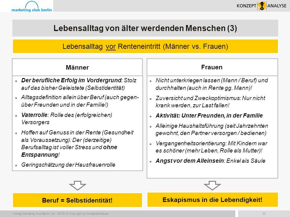 Vortrag Marketing Club Berlin / bo / 30/03/14/ Copyright by Konzept&Analyse33 Der berufliche Erfolg im Vordergrund: Stolz auf das bisher Geleistete (S