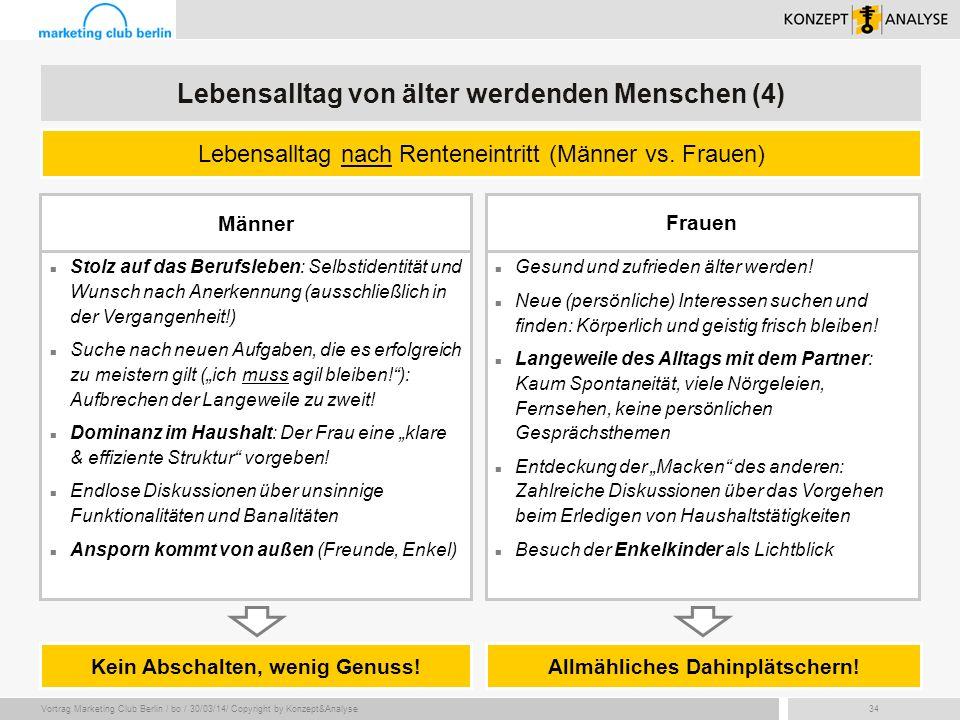 Vortrag Marketing Club Berlin / bo / 30/03/14/ Copyright by Konzept&Analyse34 Lebensalltag nach Renteneintritt (Männer vs. Frauen) Lebensalltag von äl