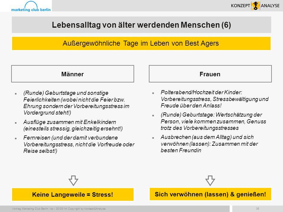 Vortrag Marketing Club Berlin / bo / 30/03/14/ Copyright by Konzept&Analyse36 Keine Langeweile = Stress! (Runde) Geburtstage und sonstige Feierlichkei