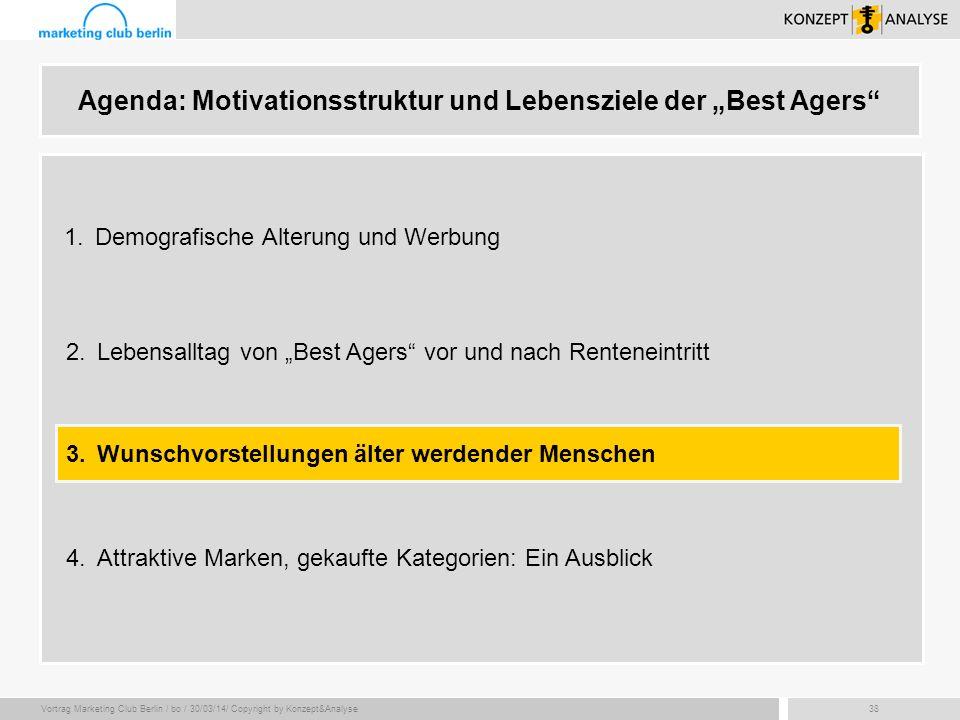 Vortrag Marketing Club Berlin / bo / 30/03/14/ Copyright by Konzept&Analyse38 Agenda: Motivationsstruktur und Lebensziele der Best Agers 2.Lebensallta