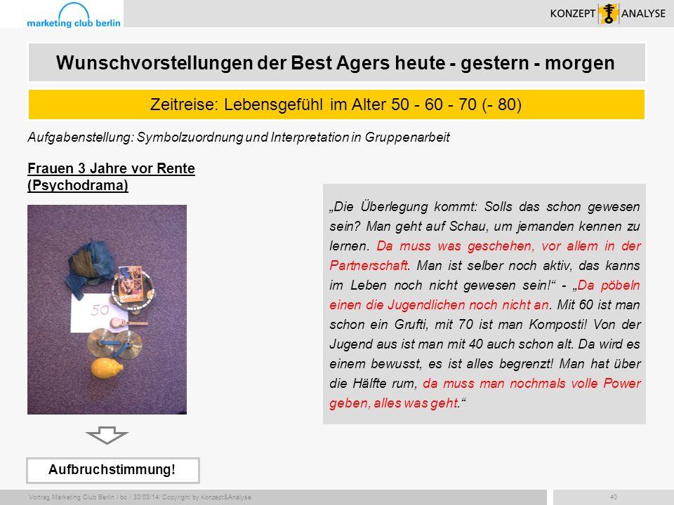 Vortrag Marketing Club Berlin / bo / 30/03/14/ Copyright by Konzept&Analyse40 Aufgabenstellung: Symbolzuordnung und Interpretation in Gruppenarbeit Ze