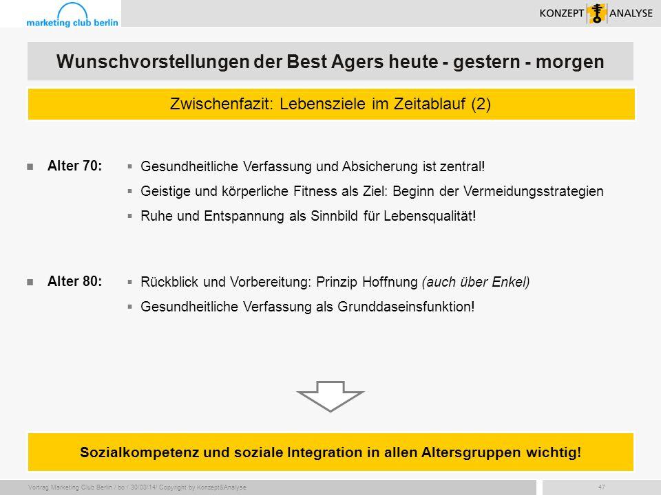 Vortrag Marketing Club Berlin / bo / 30/03/14/ Copyright by Konzept&Analyse47 Zwischenfazit: Lebensziele im Zeitablauf (2) Wunschvorstellungen der Bes