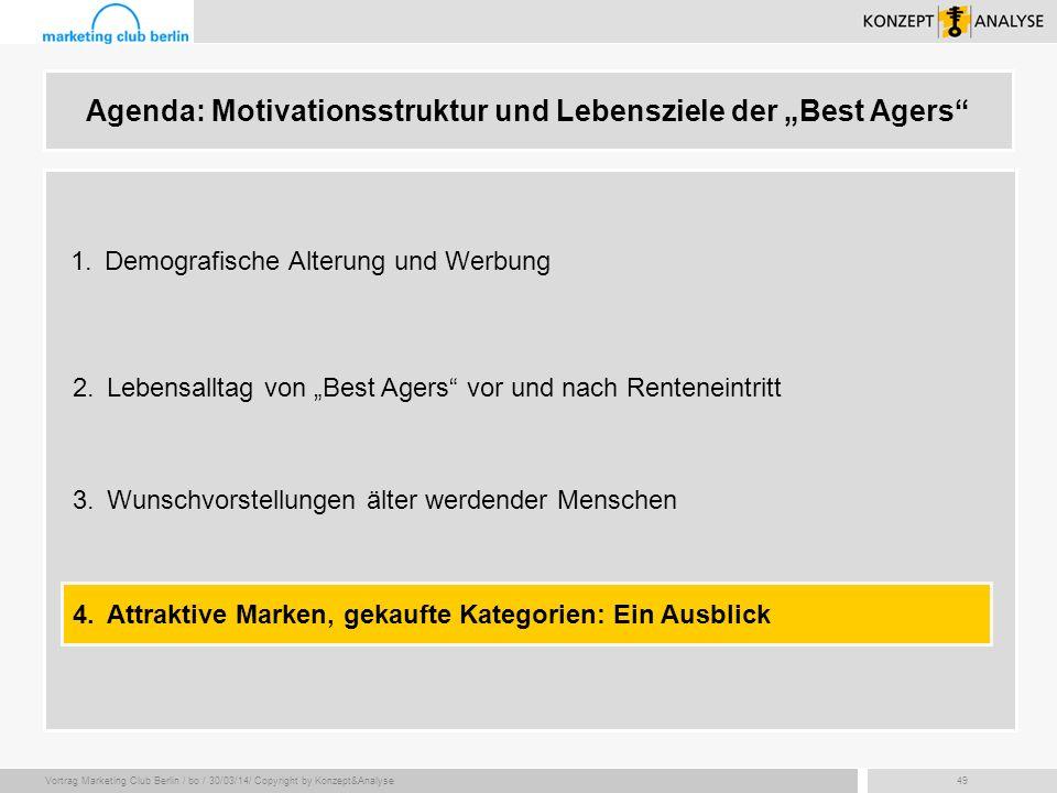 Vortrag Marketing Club Berlin / bo / 30/03/14/ Copyright by Konzept&Analyse49 Agenda: Motivationsstruktur und Lebensziele der Best Agers 2.Lebensallta