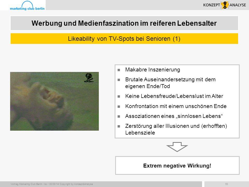 Vortrag Marketing Club Berlin / bo / 30/03/14/ Copyright by Konzept&Analyse53 Makabre Inszenierung Brutale Auseinandersetzung mit dem eigenen Ende/Tod