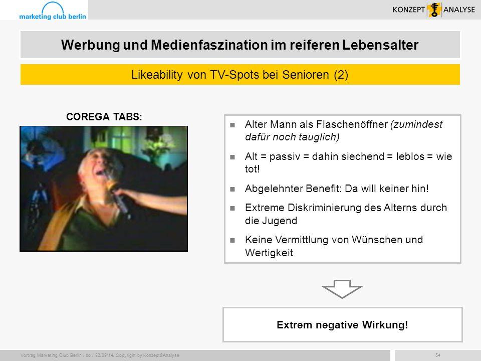 Vortrag Marketing Club Berlin / bo / 30/03/14/ Copyright by Konzept&Analyse54 Alter Mann als Flaschenöffner (zumindest dafür noch tauglich) Alt = pass
