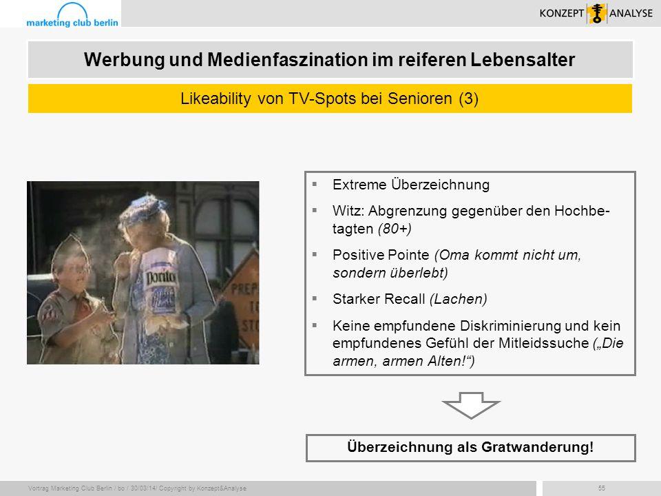 Vortrag Marketing Club Berlin / bo / 30/03/14/ Copyright by Konzept&Analyse55 Werbung und Medienfaszination im reiferen Lebensalter Likeability von TV