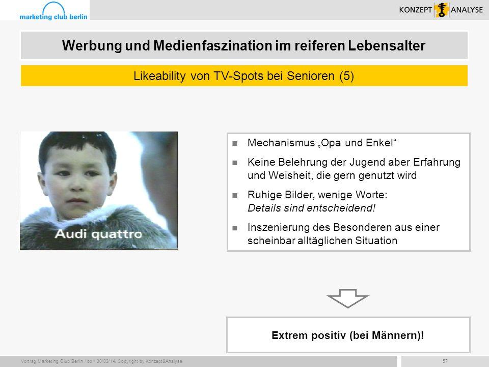Vortrag Marketing Club Berlin / bo / 30/03/14/ Copyright by Konzept&Analyse57 Werbung und Medienfaszination im reiferen Lebensalter Likeability von TV