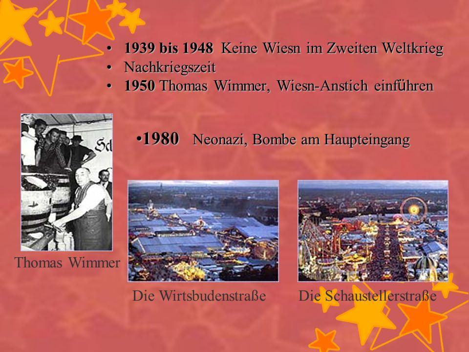1939 bis 1948 K K K Keine Wiesn im Zweiten Weltkrieg Nachkriegszeit 1950 Thomas Wimmer, Wiesn-Anstich einführen Thomas Wimmer 1980 Neonazi, Bombe am H