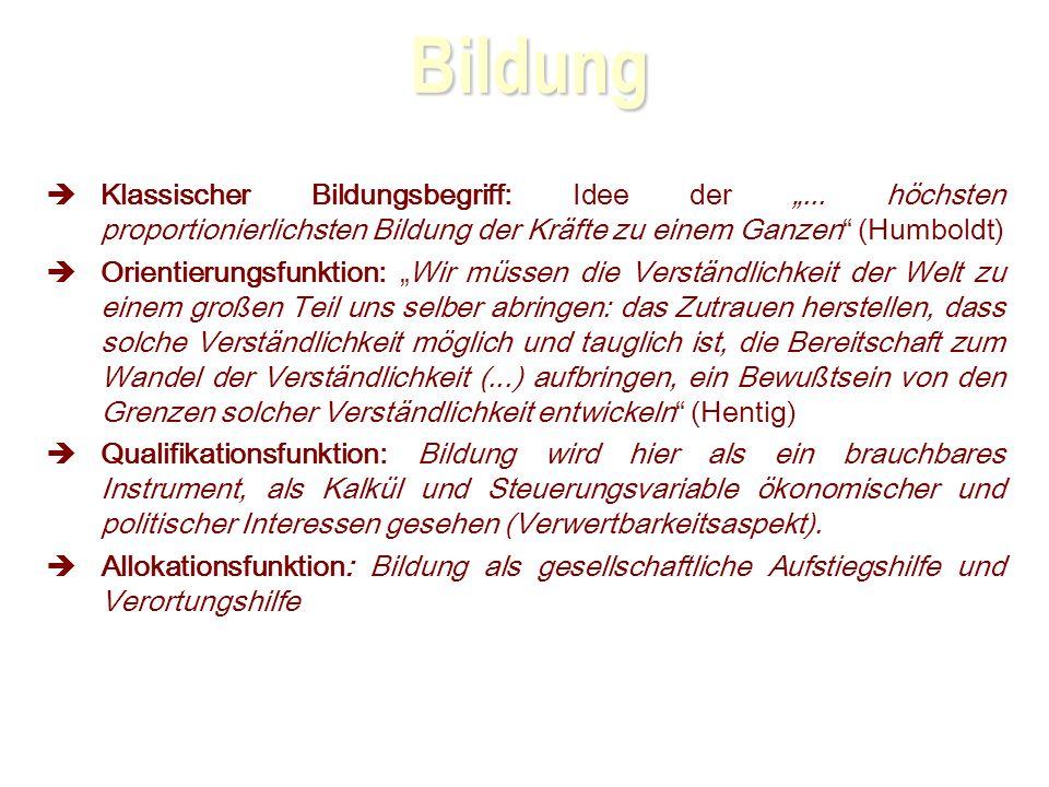 Bildung Klassischer Bildungsbegriff: Idee der...