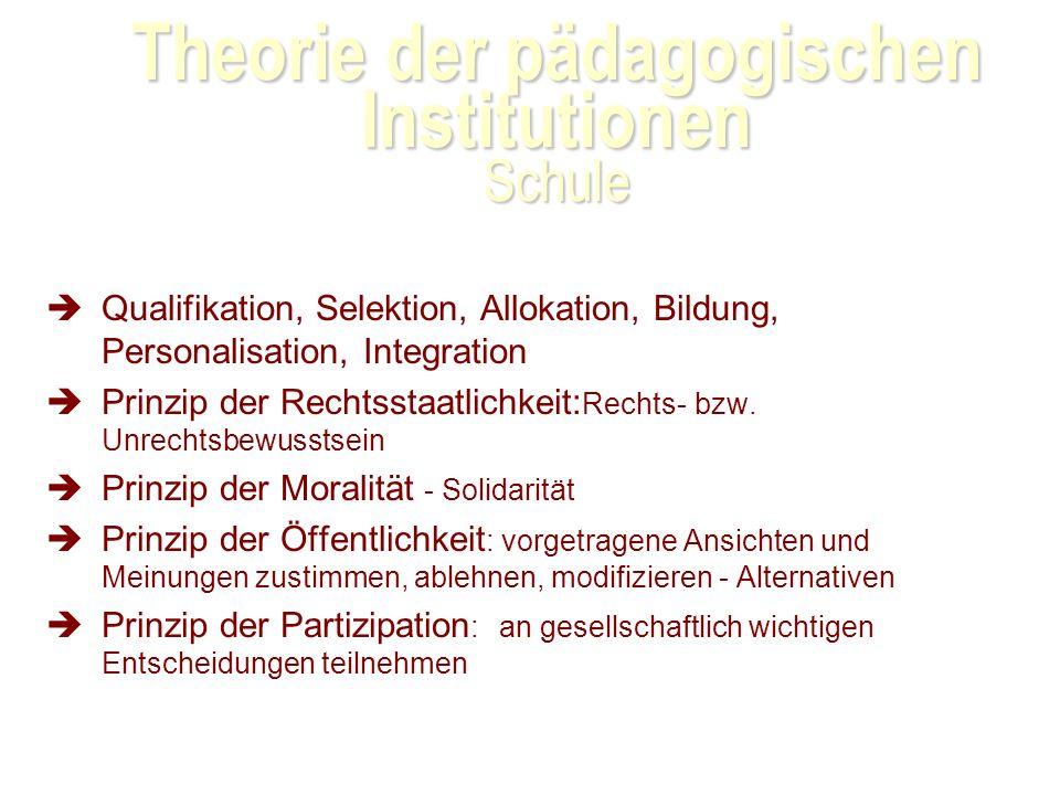 Theorie der pädagogischen Institutionen Schule Qualifikation, Selektion, Allokation, Bildung, Personalisation, Integration Prinzip der Rechtsstaatlichkeit: Rechts- bzw.